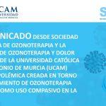 COMUNICADO SEOT / Cátedra Ozonoterapia y Dolor Crónico UCAM: Polémica tratamiento de ozonoterapia médica como uso compasivo en COVID-19